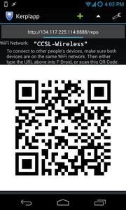 Sharing access to a Kerplapp repo with a QR code.